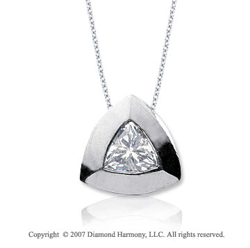 3/4 Carat Diamond Trillian 14k White Gold Solitaire Pendant