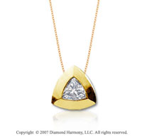 1/3 Carat Diamond Trillian 14k Yellow Gold Solitaire Pendant