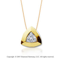 2/5 Carat Diamond Trillian 14k Yellow Gold Solitaire Pendant