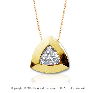 3/4 Carat Diamond Trillian 14k Yellow Gold Solitaire Pendant