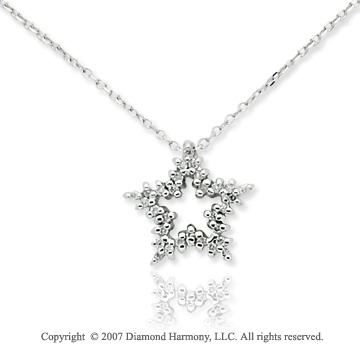 14k White Gold Elegant Star 1/4 Carat Diamond Pendant