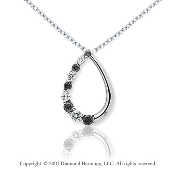 14k White Gold Stylish 1.00 Carat Black Diamond Pendant
