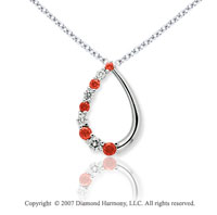 14k White Gold Stylish 1.00 Carat Red Diamond Pendant