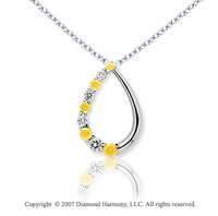 14k White Gold Stylish 1.00 Carat Yellow Diamond Pendant