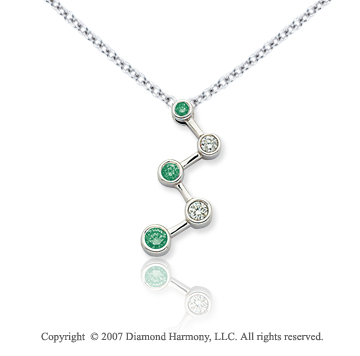 14k White Gold Bezel 1/2 Carat Green Diamond Pendant