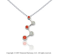 14k White Gold Bezel 1/2 Carat Red Diamond Pendant