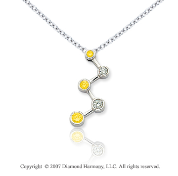 14k White Gold Bezel 1/2 Carat Yellow Diamond Pendant