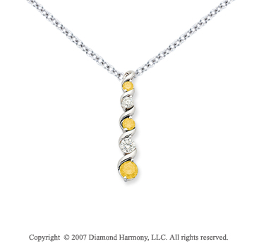 14k White Gold Twirl 2.00 Carat Yellow Diamond Pendant