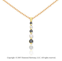 14k Yellow Gold Channel 1.00 Carat Black Diamond Pendant