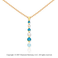 14k Yellow Gold Channel 1.00 Carat Blue Diamond Pendant