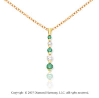 14k Yellow Gold Channel 1.00 Carat Green Diamond Pendant