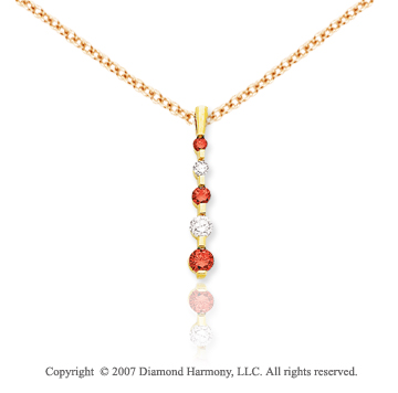 14k Yellow Gold Channel 1.00 Carat Red Diamond Pendant