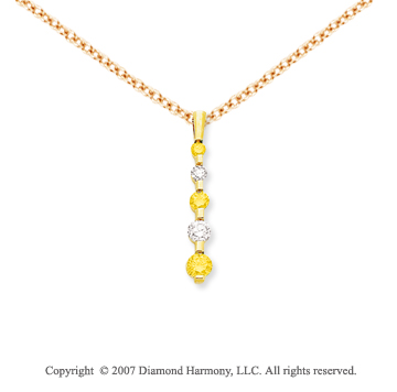 14k Yellow Gold Channel 1.00 Carat Yellow Diamond Pendant