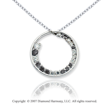 14k White Gold Circle 1 1/3 Carat Black Diamond Pendant