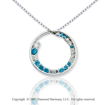 14k White Gold Circle 1 1/3 Carat Blue Diamond Pendant