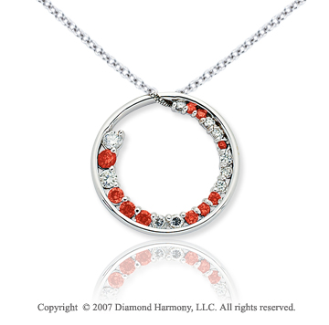 14k White Gold Circle 1 1/3 Carat Red Diamond Pendant