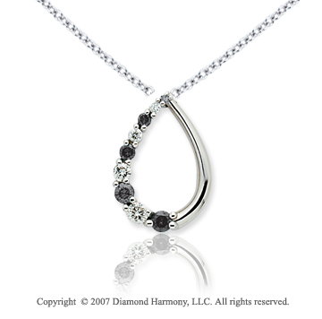 14k White Gold Stylish 1/2 Carat Black Diamond Pendant