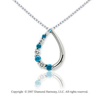 14k White Gold Stylish 1/2 Carat Blue Diamond Pendant
