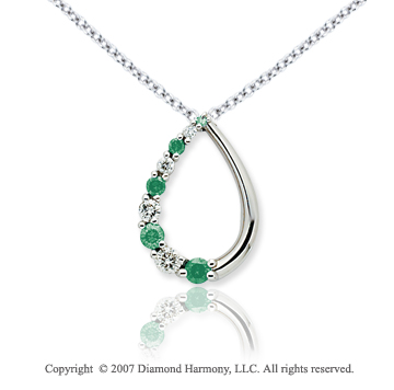 14k White Gold Stylish 1/2 Carat Green Diamond Pendant