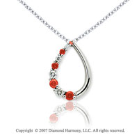 14k White Gold Stylish 1/2 Carat Red Diamond Pendant