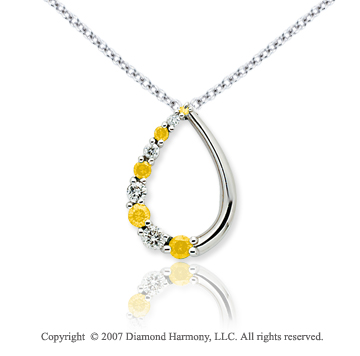 14k White Gold Stylish 1/2 Carat Yellow Diamond Pendant