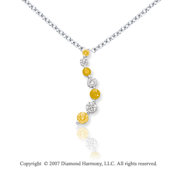 14k White Gold Prong 5.00 Carat Yellow Diamond Pendant