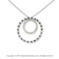 14k White Gold Two Circle 1.66 Carat Black Diamond Pendant
