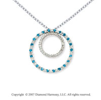 14k White Gold Two Circle 1.66 Carat Blue Diamond Pendant