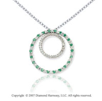 14k White Gold Two Circle 1.66 Carat Green Diamond Pendant
