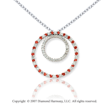 14k White Gold Two Circle 1.66 Carat Red Diamond Pendant