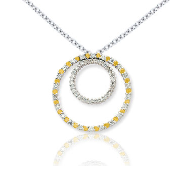 14k White Gold Two Circle 1.66 Carat Yellow Diamond Pendant