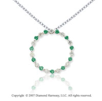 14k White Gold Circle 1.10 Carat Green Diamond Pendant