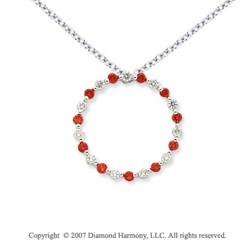 14k White Gold Circle 1.10 Carat Red Diamond Pendant