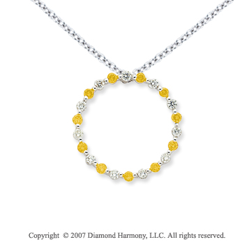 14k White Gold Circle 1.10 Carat Yellow Diamond Pendant