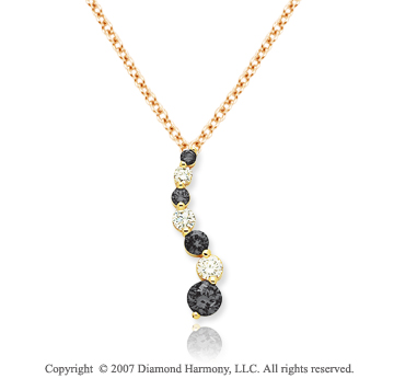 14k Yellow Gold Prong 1 1/2 Carat Black Diamond Pendant
