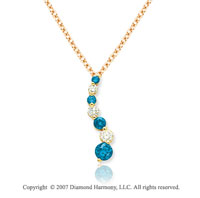 14k Yellow Gold Prong 1 1/2 Carat Blue Diamond Pendant