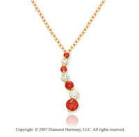 14k Yellow Gold Prong 1 1/2 Carat Red Diamond Pendant