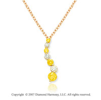 14k Yellow Gold Prong 1 1/2 Carat Yellow Diamond Pendant