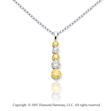 14k White Gold Prong 1 1/6 Carat Yellow Diamond Pendant