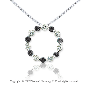14k White Gold Round 1 4/5 Carat Black Diamond Pendant