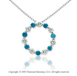 14k White Gold Round 1 4/5 Carat Blue Diamond Pendant