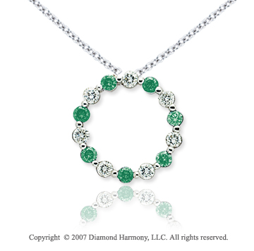 14k White Gold Round 1 4/5 Carat Green Diamond Pendant