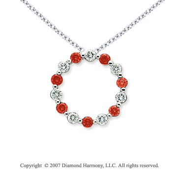 14k White Gold Round 1 4/5 Carat Red Diamond Pendant