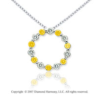 14k White Gold Round 1.40 Carat Yellow Diamond Pendant