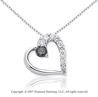 14k White Gold Heart 1/2 Carat Black Diamond Pendant