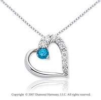 14k White Gold Heart 1/2 Carat Blue Diamond Pendant