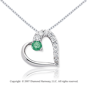 14k White Gold Heart 1/2 Carat Green Diamond Pendant
