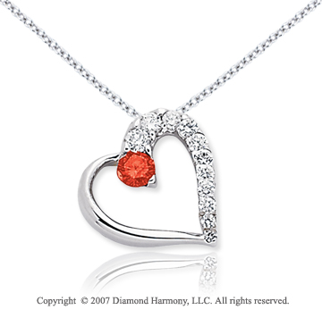 14k White Gold Heart 1/2 Carat Red Diamond Pendant