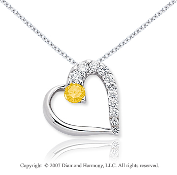 14k White Gold Heart 1/2 Carat Yellow Diamond Pendant