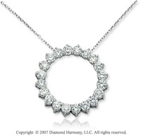 14k White Gold Prong Circle 2.00 Carat Diamond Pendant
